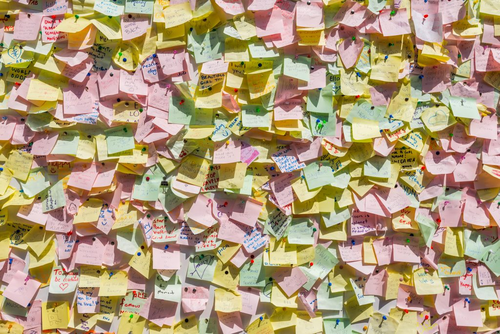 Manly, Australia - November 9, 2014: Hundreds of post-it are pinned on the notice-board near Manly beach, Sydney, Australia.